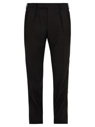 Saint Laurent Sim Leg Side Trimmed Wool Tuxedo Trousers Black