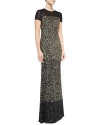 St. John Collection Hand Beaded Ombre Paillette Gown Caviar Gold