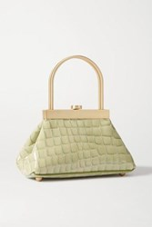 Cult Gaia Estelle Mini Croc Effect Leather Tote Green