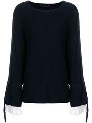 Luisa Cerano Long Sleeve Fitted Sweater Blue