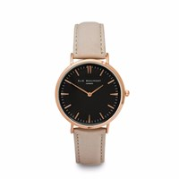 Elie Beaumont Stone Nappa Leather Black Dial