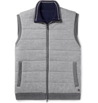 Dunhill Reversible Quilted Brushed Wool Gilet Gray