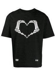 Ktz Skeleton Heart Print T Shirt Black