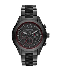 Armani Exchange Mens Chronograph Black Plated Stainless Steel Silicone Bracelet Watch