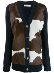 Tory Burch Cow Knit Panelled Cardigan Blue