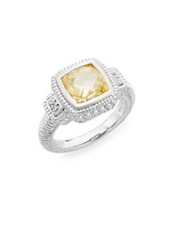 Judith Ripka La Petite Canary Stone White Sapphire And Sterling Silver Ring Silver Yellow