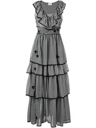 Ainea Layered Gingham Dress Women Polyester 42 Black