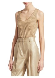 Emporio Armani Rib Knit Lurex Tank Top Gold