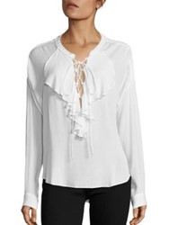 The Kooples Ruffle Long Sleeve Blouse White