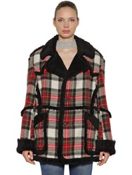 R 13 Wool Plaid And Faux Shearling Coat Red Cream Black