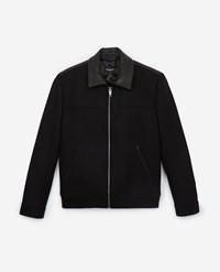 The Kooples Zipped Black Wool Jacket With Classic Collar