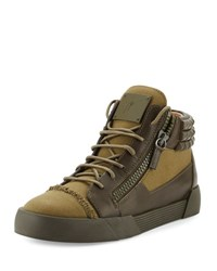 Giuseppe Zanotti Men's Foxy London Canvas And Leather Studded Mid Top Sneaker Olive