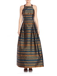 Kay Unger Striped Halter Gown Teal