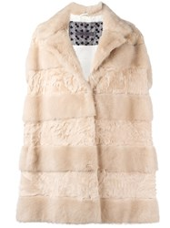 Simonetta Ravizza Panelled Fur Vest Nude And Neutrals