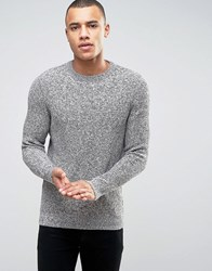 New Look Fisherman Jumper In Grey With Twisted Crew Neck Grey Pattern