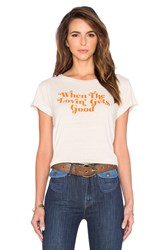 Mother Lovin' Goodie Goodie Crop Tee Beige