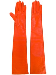 Rochas Long Gloves Yellow And Orange
