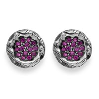 Platadepalo Purple Zircon And Silver Earrings Pink Purple