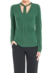 Leon Max Matte Jersey Long Sleeved Pullover With Tie Neck