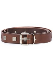 Massimo Alba Studded Belt Men Leather Metal 100 Brown