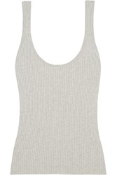 Frame Le Rib Cotton And Silk Blend Tank Light Gray