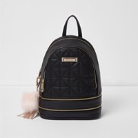 River Island Womens Black Quilted Mini Backpack