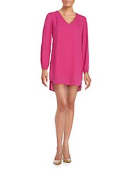 Saks Fifth Avenue Red V Cutout Long Sleeve Shift Dress Festival Fuchsia