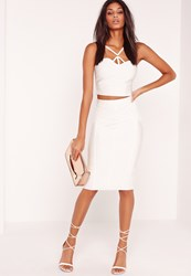 Missguided Premium Stitch Panel Bandage Midi Skirt White White