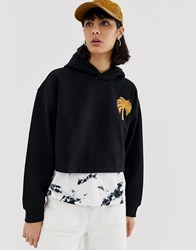 Weekday Ninja Palm Tree Embroidered Hoodie Black