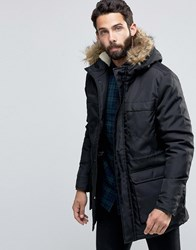 Only And Sons Parka With Faux Fur Hood Black
