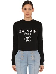 Balmain Crop Printed Cotton Jersey Sweatshirt Black