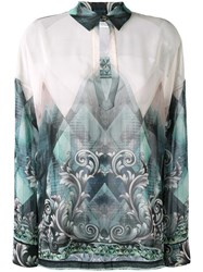 Versace Collection Printed Blouse Green