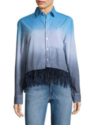 Opening Ceremony Feather Trim Dip Dye Oxford Cotton Shirt Pale Blue Multi