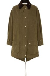 Philosophy Di Lorenzo Serafini Oversized Corduroy Trimmed Waxed Cotton Blend Canvas Coat Green