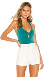Bcbgeneration Knot Front Bodysuit In Green. Sea