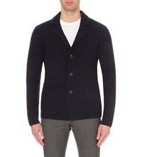 Reiss Iceland Knitted Cardigan Navy
