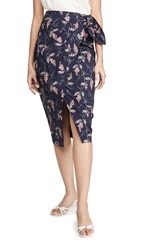 Rebecca Taylor Ivie Wrap Skirt Navy Combo