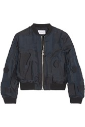 Carven Patchwork Taffeta Bomber Jacket Midnight Blue