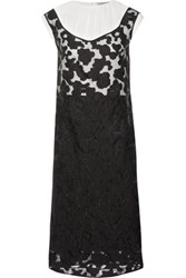 Nina Ricci Layered Crepe And Flocked Organza Midi Dress Black