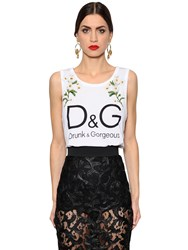 Dolce And Gabbana Embroidered Printed Cotton Jersey Top