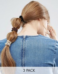 Asos Limited Edition Pack Of 3 Fuzzy Coil Hair Bands Multi