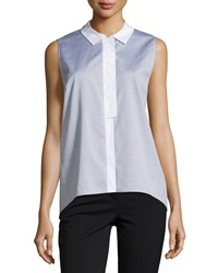 Lafayette 148 New York Sleeveless Two Tone Blouse Black Multi