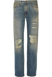 R 13 Kurt Slouch Mid Rise Distressed Straight Leg Jeans Blue