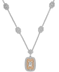 Macy's Aquamarine 5 8 Ct. T.W. And Diamond 1 10 Ct. T.W. Pendant Necklace In Sterling Silver And 14K Rose Gold No Color