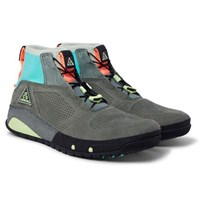 Nike Acg Ruckel Ridge Perforated Suede And Flyknit Sneakers Gray