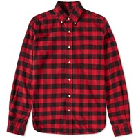 Beams Plus Button Down Flannel Check Shirt Red
