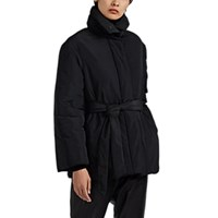 Co Belted Taffeta A Line Puffer Jacket Black