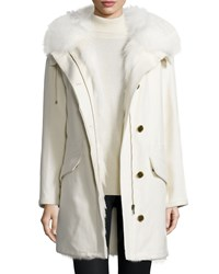 Army By Yves Salomon Fur Trimmed Cashmere Parka Jacket White Blanc