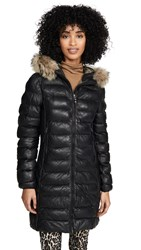 Parajumpers Demi Leather Puffer Jacket Black
