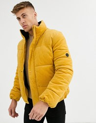 Native Youth Cord Puffer Jacket Yellow